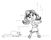 Girl scared of a mouse Royalty Free Stock Photo