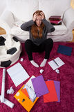Girl scared of studying for school Stock Image