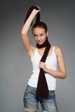 Girl with a scarf Stock Photos
