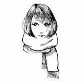 Girl with scarf. Hand drawing. Royalty Free Stock Photo