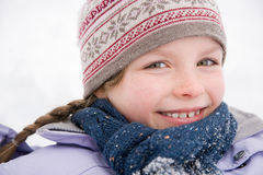 Girl in scarf and hat Royalty Free Stock Images