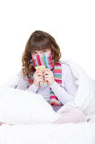 Girl in scarf with pills Royalty Free Stock Image