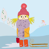 Girl in scarf and with a sledge. Rides in winter with slides Stock Image