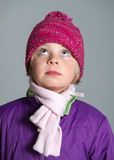 Girl with with scarf and woolen hat Royalty Free Stock Photography