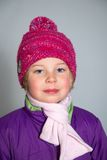 Girl with with scarf and woolen hat Royalty Free Stock Photos