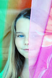 Girl and a scarf. Stock Photo