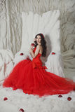 Girl in a scarlet dress royalty free stock photography