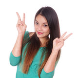 Girl with scars from self-harm making victory sign Royalty Free Stock Image