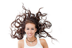 The girl with scattered hair Stock Photos