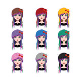 Girl with scene style - 9 different hair colors. ( flat colors Royalty Free Stock Photography