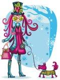 Girl With Schnauzer. Winter royalty free illustration