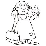 Girl and schoobag, coloring book Royalty Free Stock Images