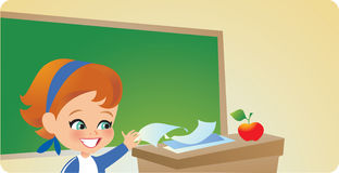 Young Girl in Classroom Stock Image