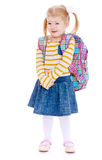Girl with a school backpack Stock Images