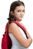 Girl with a school backpack isolated on white Stock Images