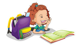 A girl with school bag. Illustration of a girl with school bag on a white background Stock Image