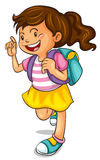 A girl with school bag. Illustration of a girl with school bag on a white background Royalty Free Stock Photos