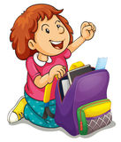 A girl with school bag Royalty Free Stock Images