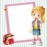 Girl, school bag and white board. Illustration of a girl, a school bag and a white board Stock Photos