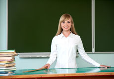 Girl at a school board Royalty Free Stock Photos