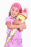 Girl with a school cone Stock Image
