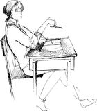 Girl after a school desk. Image of girl sitting after a school desk in an audience Vector Illustration