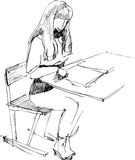 Girl after a school desk. Image of girl sitting after a school desk in an audience Stock Illustration