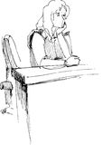 Girl after a school desk. Image of girl sitting after a school desk in an audience Royalty Free Illustration