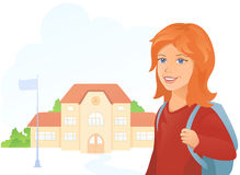 Girl at the school. Illustration of a girl going to school Stock Photos