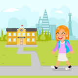 Girl school kid pupil education building student knowledge child flat design vector illustration. Girl school kid pupil education student building knowledge stock illustration