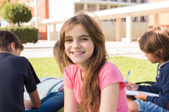 Girl on school. Portrait of a young girl on school campus stock photos