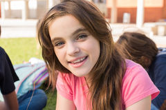 Girl on school. Portrait of a young girl on school campus royalty free stock photography
