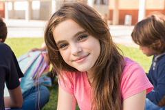 Girl on school. Portrait of a young girl on school campus royalty free stock images
