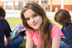 Girl on school. Portrait of a young girl on school campus stock image