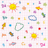 Girl school seamless. With abc drawing sun fish flower and cloud vector illustration