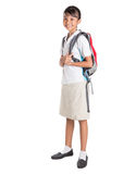 Girl In School Uniform And Backpack I Royalty Free Stock Images