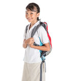 Girl In School Uniform And Backpack II Stock Photos