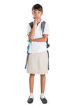 Girl In School Uniform And Backpack III Royalty Free Stock Photo
