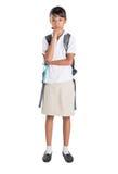 Girl In School Uniform And Backpack III Royalty Free Stock Photo