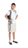 Girl In School Uniform And Backpack IV Stock Photo