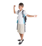 Girl In School Uniform And Backpack V Stock Photography