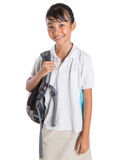 Girl In School Uniform And Backpack VIII Stock Photo