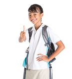 Girl In School Uniform And Backpack X Stock Photos
