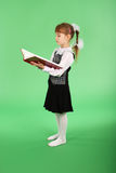 Girl in school uniform reading a book Stock Photography