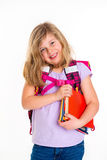 Girl with schoolbag. Blond girl with schoolbag on first day at school Stock Images