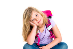 Girl with schoolbag. Blond girl with schoolbag in front of white background Stock Photos