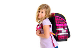 Girl with schoolbag. Blond girl with schoolbag in front of white background Stock Photography