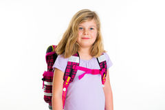 Girl with schoolbag. Blond girl with schoolbag in front of white background Royalty Free Stock Images