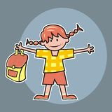 Girl and schoolbag Royalty Free Stock Photos