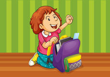 A girl with schoolbag Stock Photos